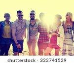diverse beach summer friends... | Shutterstock . vector #322741529
