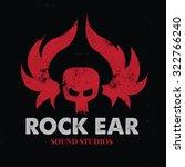 rock ear  skull logo vector... | Shutterstock .eps vector #322766240