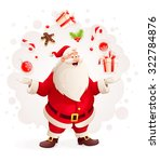 merry santa claus juggles with... | Shutterstock .eps vector #322784876
