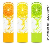 banners with fresh citrus fruit ... | Shutterstock .eps vector #322798964