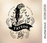 vector tattoo studio logo... | Shutterstock .eps vector #322812020