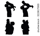 father holding baby silhouette... | Shutterstock .eps vector #322817000
