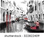 Gondolas On Venice. Digital...