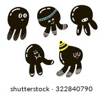 set of cute black octopuses.... | Shutterstock .eps vector #322840790