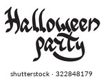 'halloween party' lettering in... | Shutterstock .eps vector #322848179