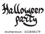 'halloween party' lettering in... | Shutterstock .eps vector #322848179
