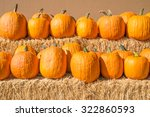 Row Of Pumpkins On Straw