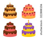 birthday cake flat icon with... | Shutterstock .eps vector #322888106