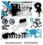 urban design elements   2   blue | Shutterstock .eps vector #32293696