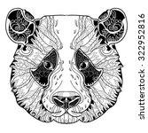 panda zentangle head doodle on...   Shutterstock .eps vector #322952816