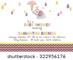 Stock vector girl baby shower elephant invitation 322956176
