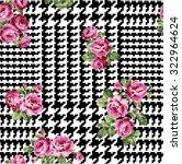 giant glen plaid with roses ... | Shutterstock .eps vector #322964624