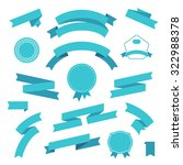 vector set of retro blue r... | Shutterstock .eps vector #322988378