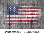 usa flag painted on background... | Shutterstock . vector #323004866