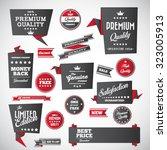 origami vintage labels set... | Shutterstock .eps vector #323005913