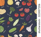 vegetables with name seamless... | Shutterstock .eps vector #323007206