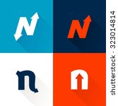 n letter with arrows set.... | Shutterstock .eps vector #323014814