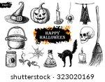hand drawn halloween set....   Shutterstock . vector #323020169