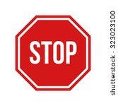 illustration of red stop sign   ... | Shutterstock . vector #323023100