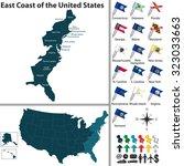 vector set of east coast of the ... | Shutterstock .eps vector #323033663