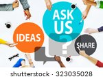 Small photo of Ask us Customer Service Guidance Ideas Share Concept