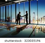 2 multi ethnic businessmen... | Shutterstock . vector #323035196