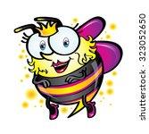 cute friendly queen bee flying... | Shutterstock .eps vector #323052650