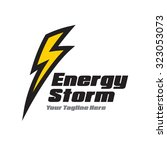yellow lightning logo | Shutterstock .eps vector #323053073