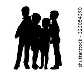 vector silhouette of children... | Shutterstock .eps vector #323054390