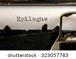 Small photo of Macro of Epilogue text written by old typewriter machine