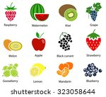 set of cute fruit icons with... | Shutterstock .eps vector #323058644