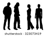 vector silhouette of people on... | Shutterstock .eps vector #323073419