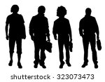vector men silhouette on a... | Shutterstock .eps vector #323073473