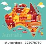 cartoon map of australia  | Shutterstock .eps vector #323078750