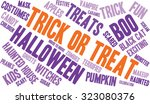 trick or treat word cloud on a... | Shutterstock .eps vector #323080376