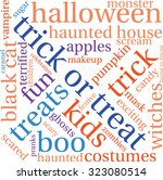 trick or treat word cloud on a... | Shutterstock .eps vector #323080514