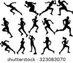 the set of 14 runner silhouette | Shutterstock .eps vector #323083070