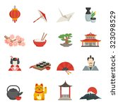 japanese icons flat set with... | Shutterstock . vector #323098529