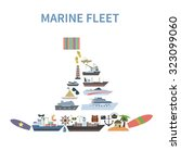 ship concept with flat marine... | Shutterstock . vector #323099060