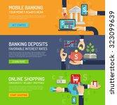 banking banner horizontal set... | Shutterstock . vector #323099639