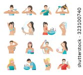 hygiene icons flat set with... | Shutterstock . vector #323100740