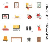 work room interior single icons ... | Shutterstock . vector #323100980