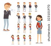 sick people characters set with ... | Shutterstock . vector #323101970