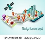 navigation concept with cartoon ... | Shutterstock . vector #323102420