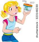 young blondie girl with a bug   Shutterstock .eps vector #323148230