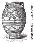 vase of santorini  vintage...   Shutterstock .eps vector #323150984