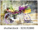 romantic cards   floral bike ... | Shutterstock . vector #323152880