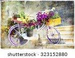 romantic cards   floral bike ... | Shutterstock . vector #323152880