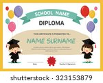 kids diploma certificate... | Shutterstock .eps vector #323153879