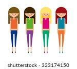 fashion gym girls set vector | Shutterstock .eps vector #323174150